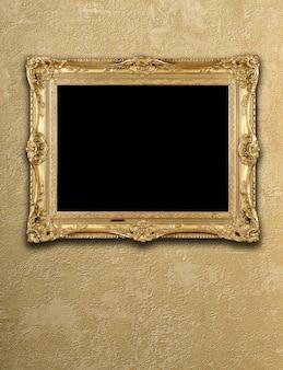 Exposição vazia em moldura de ouro