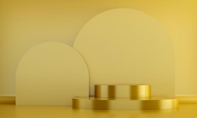 Expositor cosmético de pódio amarelo com fundo de parede amarelo
