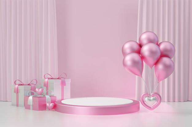 Expositor de cosméticos, pódio cilíndrico redondo branco rosa com balão e caixa de presente em fundo rosa. ilustração de renderização 3d.