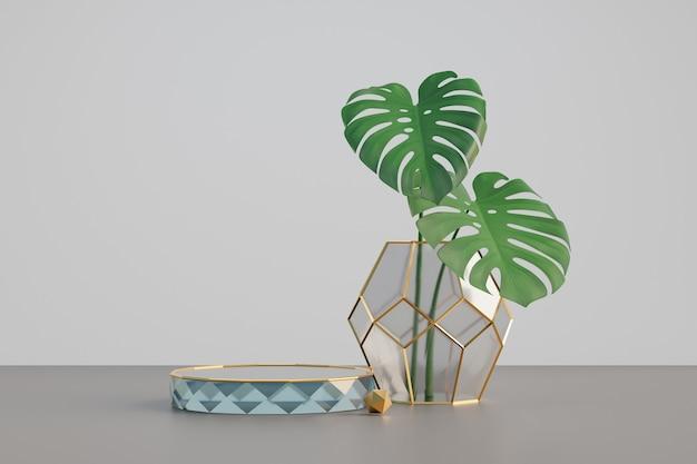 Expositor de cosméticos, pódio de cilindro de diamante de vidro dourado e vaso de vidro de diamante com folha verde sobre fundo branco. ilustração de renderização 3d