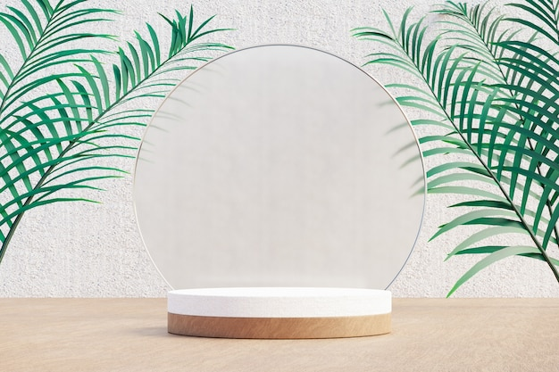 Expositor de cosméticos, pódio de cilindro de madeira branca com parede de vidro circular e folha de palmeira natural sobre fundo claro. ilustração de renderização 3d