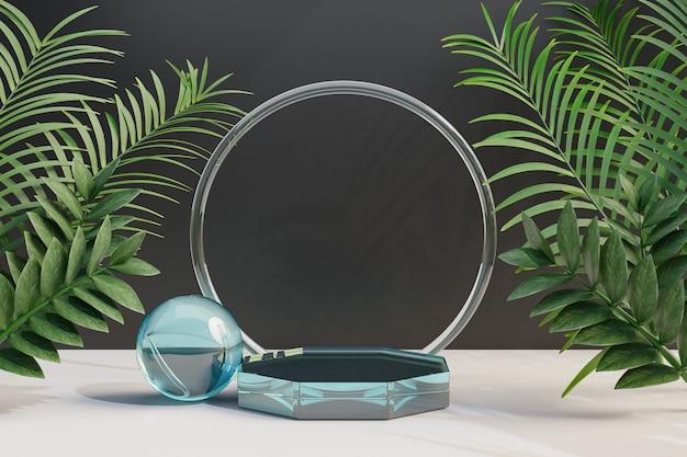 Expositor de cosméticos, pódio de vidro transparente com folha de palmeira natural em fundo escuro. ilustração de renderização 3d