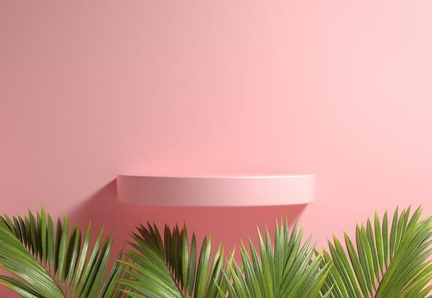 Expositor de estante rosa com folhas de palmeira