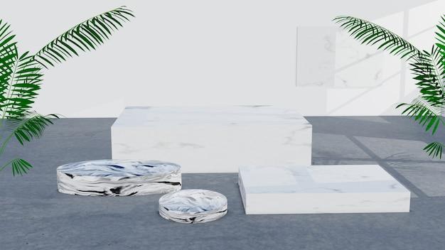 Expositor de mármore ou pódio para mostrar produto e sala vazia e piso de concreto.