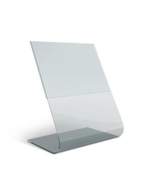 Expositor de mesa de acrílico transparente para menu isolado com caminhos de trabalho