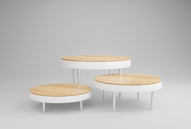 Expositor de pódio de madeira para apresentação de produtos em fundo branco.