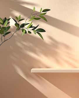 Expositor de prateleira de maquete mínima com sombra ramo de guarda-sol na parede de concreto bege fundo abstrato renderização em 3d