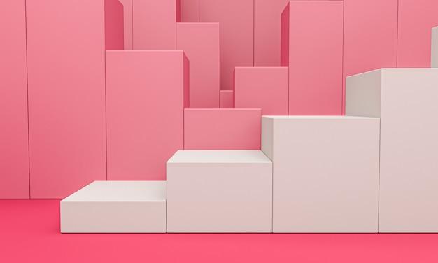 Expositor de produto branco ou pedestal de vitrine em fundo rosa