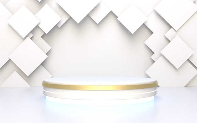 Expositor de produto branco pódio com fundo abstrato geométrico