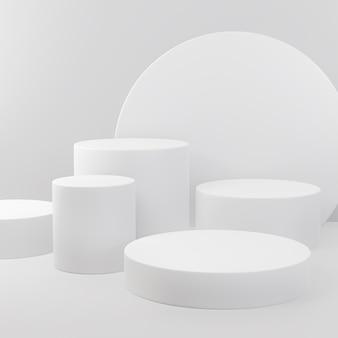 Expositor de produtos com formato geométrico de cor branca para apresentação do produto
