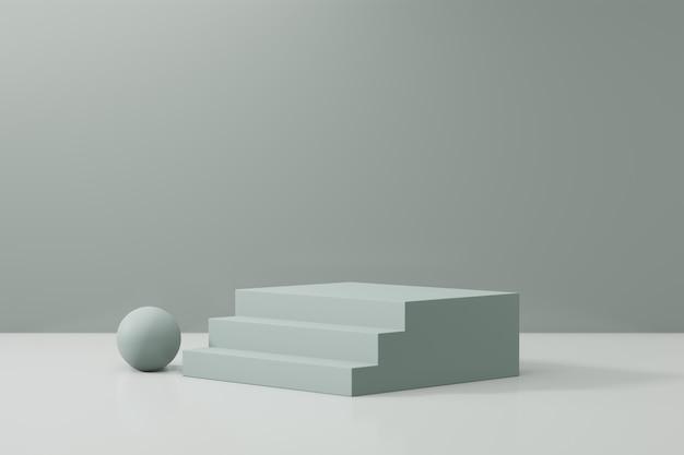 Expositor de produtos cosméticos. bloco de escada verde com uma esfera sobre um fundo verde. ilustração de renderização 3d
