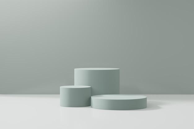 Expositor de produtos cosméticos. blocos de cilindro verdes com uma esfera em um fundo verde. ilustração de renderização 3d