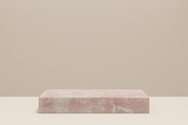 Expositor de produtos cosméticos. blocos de mármore rosa sobre fundo marrom pastel. ilustração de renderização 3d