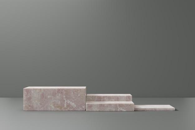 Expositor de produtos cosméticos. blocos de mármore rosa sobre fundo verde. ilustração de renderização 3d