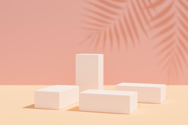 Expositor de produtos cosméticos. bloqueia o pódio em fundo rosa amarelo com sombra em folha de palmeira. ilustração de renderização 3d