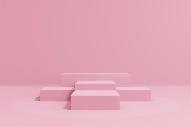 Expositor de produtos cosméticos. cinco blocos rosa em fundo pastel. ilustração de renderização 3d