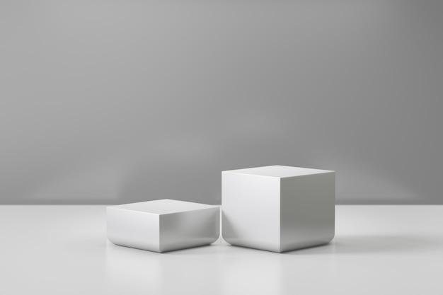 Expositor de produtos cosméticos. fundo branco de dois blocos cinzentos. ilustração de renderização 3d