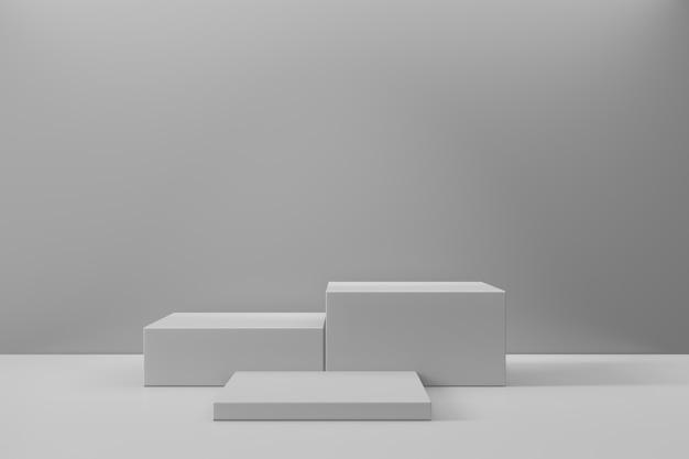 Expositor de produtos cosméticos. fundo branco de três blocos cinzentos. ilustração de renderização 3d