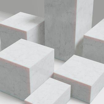 Expositor de produtos cosméticos. fundo branco do bloco de mármore branco. ilustração de renderização 3d