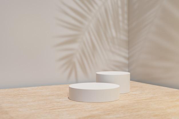 Expositor de produtos cosméticos. pódio de dois cilindros na mesa de madeira e fundo cinza com sombra de folha de palmeira. ilustração de renderização 3d