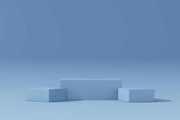 Expositor de produtos cosméticos. três blocos azuis em fundo pastel. ilustração de renderização 3d