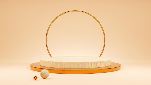 Expositor de produtos de madeira geométrica ou pedestal de vitrine com fundo de cor creme