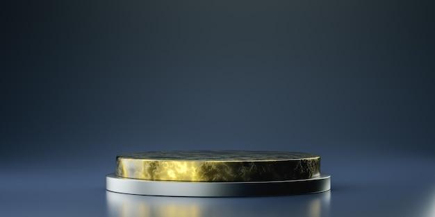 Expositor de produtos em formato de cilindro de mármore preto e dourado, pódio, pedestal, suporte, renderização 3d