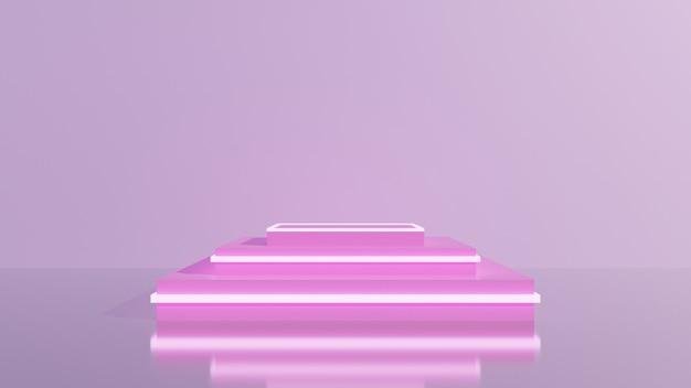 Expositor ou pódio rosa para produtos de exibição e piso e parede rosa vazios.