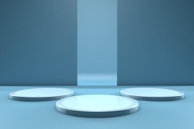 Expositor para o pódio de três prateleiras do produto em fundo azul