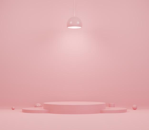 Expositor rosa expositor de pódio de maquete para apresentação de produtos cosméticos