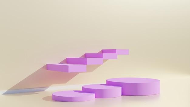 Expositor rosa ou pódio para mostrar produto e sala vazia.