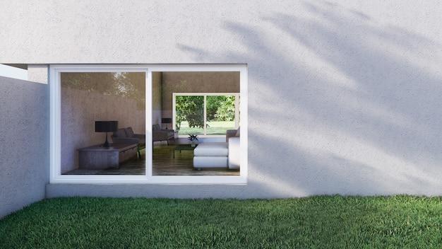 Exterior da villa no gramado e sala de estar dentro