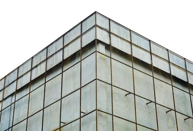 Exterior, de, aço, raspando, em, predios, parede