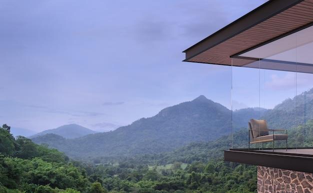 Exterior de casa moderna contemporânea com vista da montanha renderização em 3d com estrutura de aço