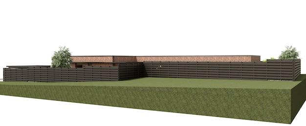 Exterior de uma casa de campo de visualização ilustração 3d