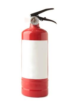 Extintor de incêndio isolado em um fundo branco