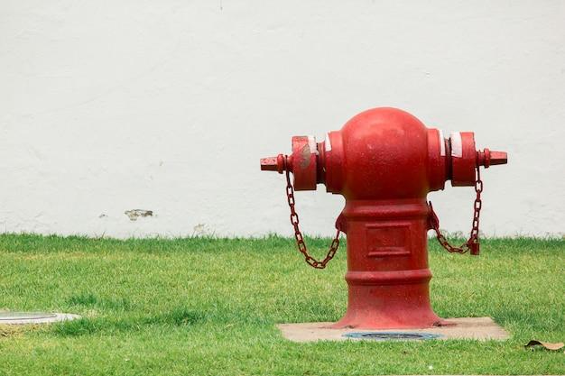 Extintor de incêndio no gramado para facilidade de uso