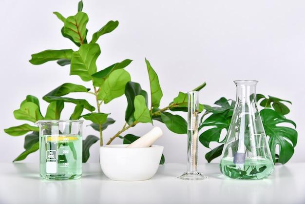 Extração de plantas naturais em vidrarias de laboratório