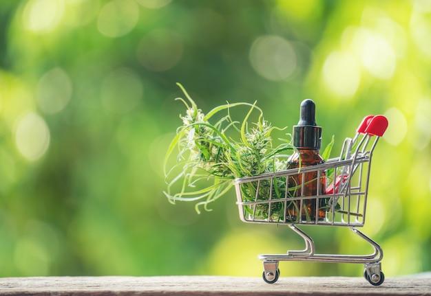 Extrato de canabidiol (cbd) em um carrinho de compras