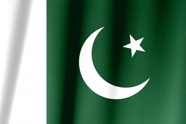 Extremo close-up tiro da bandeira paquistanesa ondulada