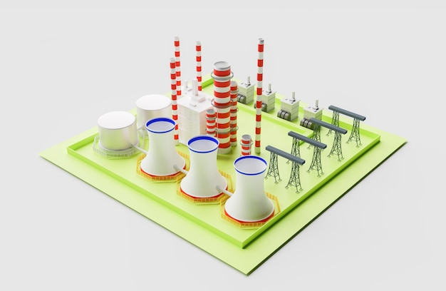Fábrica de usina nuclear 3d, renderização de ilustração 3d