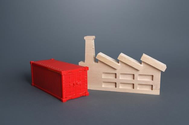 Fábrica e contentor vermelho produção de produtos falta de capacidade de transporte contentor de transporte