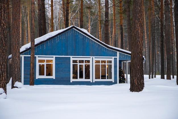 Fabulosa casa azul em uma floresta de pinheiros no inverno. foto de alta qualidade