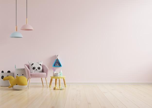 Faça a simulação da parede do quarto das crianças com fundo de cor rosa claro. renderização em 3d
