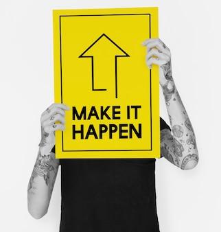Faça acontecer a positividade atitude possível palavras gráficas