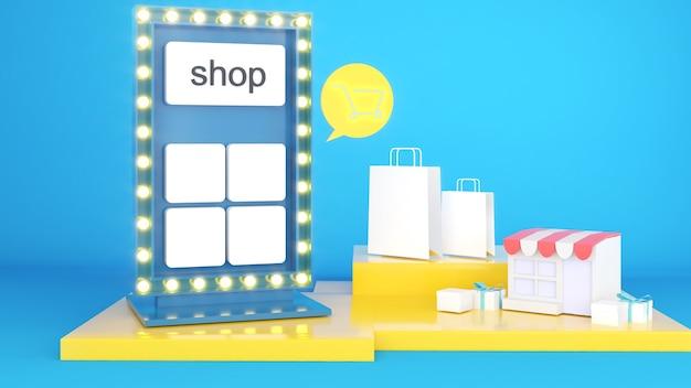 Faça pedidos e promoções on-line. placas de loja exibindo produtos e preços combinados para apresentação