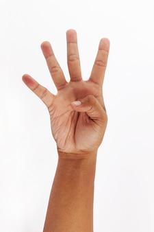 Faça um símbolo de quatro dedos