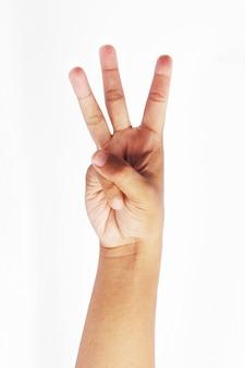 Faça um símbolo de três dedos