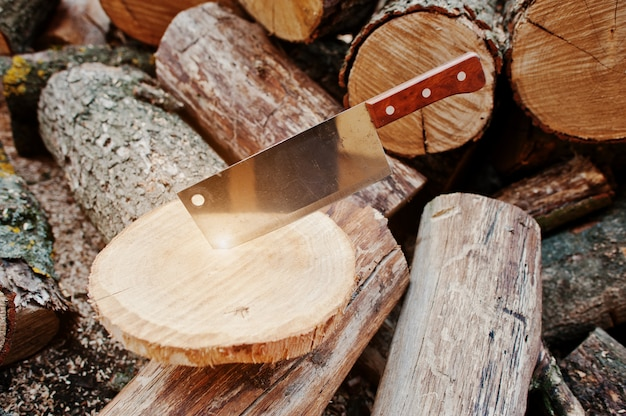 Facão da faca do machado da cozinha na lenha desbastada fundo do coto.