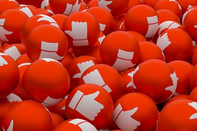 Facebook como emoji 3d render fundo, símbolo de balão de mídia social